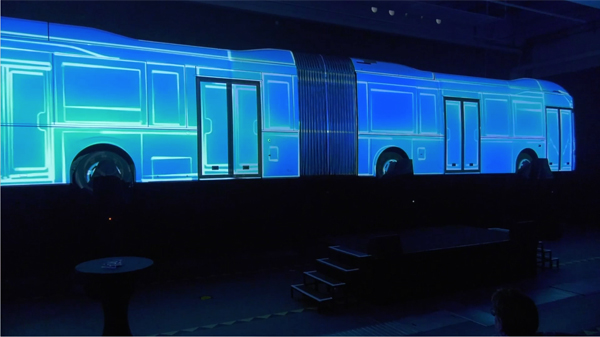 Projection vidéo sur un VOLVO7900 hybride 18 mètres - Vidéo